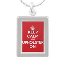 Keep Calm Upholster Silver Portrait Necklace