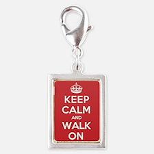 Keep Calm Walk Silver Portrait Charm