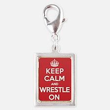 Keep Calm Wrestle Silver Portrait Charm