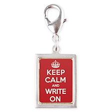 Keep Calm Write Silver Portrait Charm