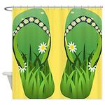 Green Flip Flops Shower Curtain