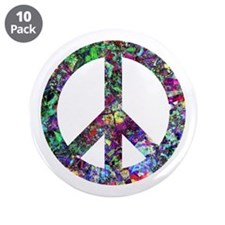 """Colorful Peace Sign 3.5"""" Button (10 pack)"""