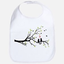 Cats in love with red hearts on spring tree Bib