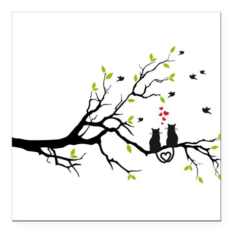 Cats in love with red hearts on spring tree Square