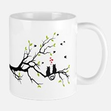 Cats in love with red hearts on spring tree Small Small Mug