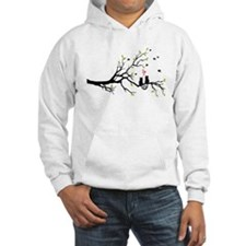 Cats in love with red hearts on spring tree Jumper Hoody