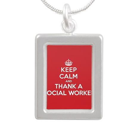 K C Thank Social Worker Silver Portrait Necklace