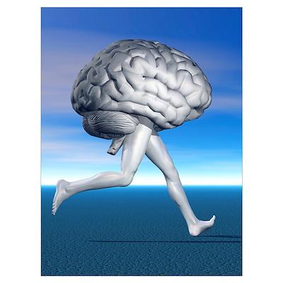 Running brain, conceptual artwork Poster
