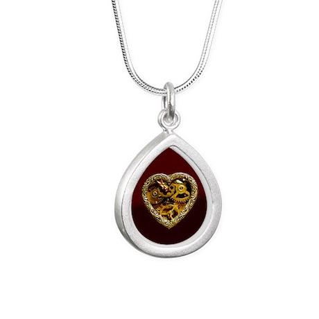 Clockwork Heart Silver Teardrop Necklace