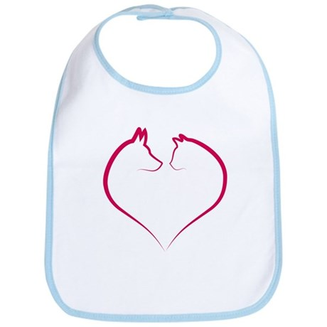 Cat and dog faces in red heart silhouette Bib