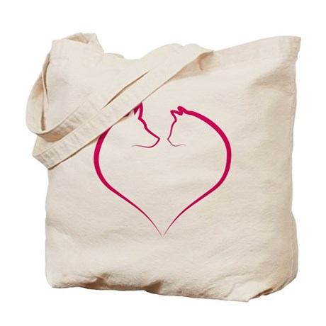 Cat and dog faces in red heart silhouette Tote Bag