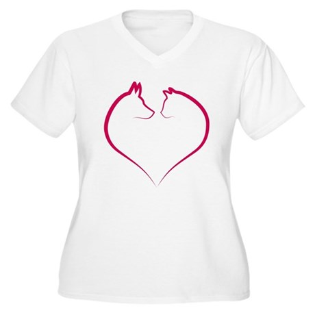 Cat and dog faces in red heart silhouette Women's