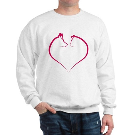 Cat and dog faces in red heart silhouette Sweatshi