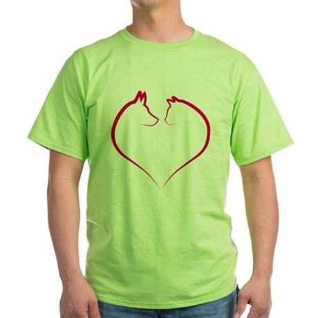 Cat and dog faces in red heart silhouette Green T-