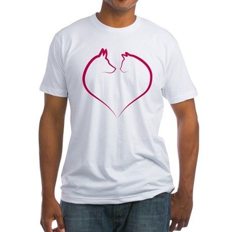 Cat and dog faces in red heart silhouette Fitted T
