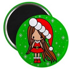 Lila Christmas Girl in Santa outfit Magnet