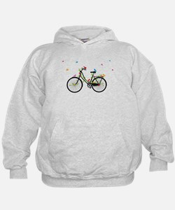 Old vintage bicycle with flowers and birds Hoodie