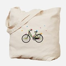 Old vintage bicycle with flowers and birds Tote Ba