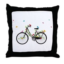 Old vintage bicycle with flowers and birds Throw P