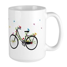 Old vintage bicycle with flowers and birds Mug