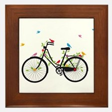 Old vintage bicycle with flowers and birds Framed