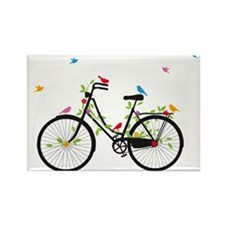 Old vintage bicycle with flowers and birds Rectang