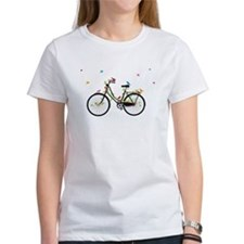 Old vintage bicycle with flowers and birds Tee