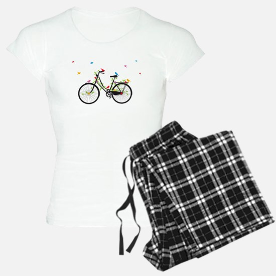 Old vintage bicycle with flowers and birds pajamas