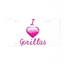 I Love/Heart Gorillas Aluminum License Plate