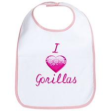 I Love/Heart Gorillas Bib