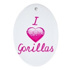 I Love/Heart Gorillas Ornament (Oval)
