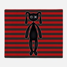 Goth Red Black Bunny Throw Blanket