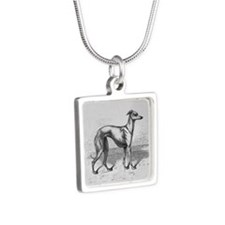 Vintage Italian Greyhound Silver Square Necklace