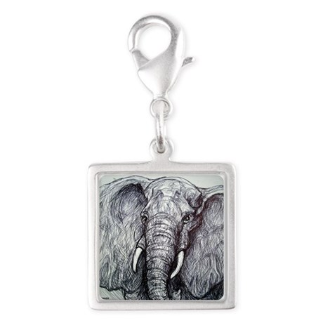 Elephant! Wildlife art! Silver Square Charm