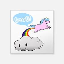 "Cute Unicorn Fart! ... TOOT! Square Sticker 3"" x 3"