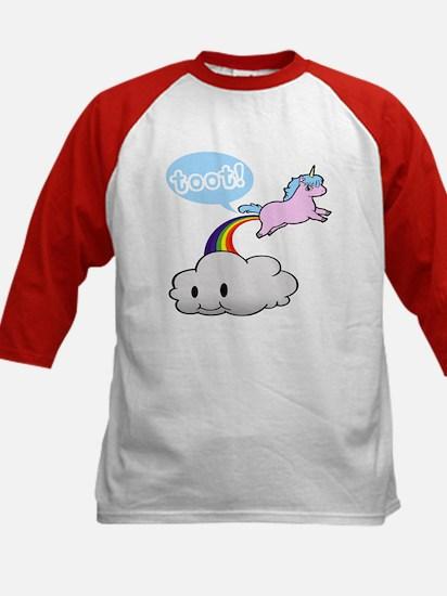 Cute Unicorn Fart! ... TOOT! Kids Baseball Jersey