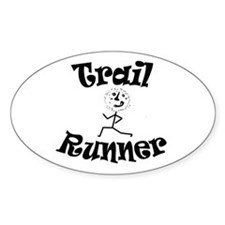 Trail Runner Stick Person Sticker (oval)