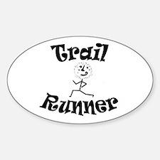Trail Runner Stick Person Sticker (oval)