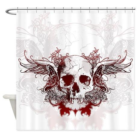 Dark Red Skull Shower Curtain