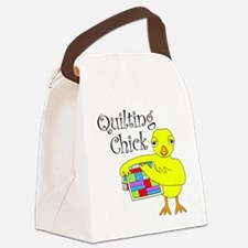 Quilting Chick Text Canvas Lunch Bag