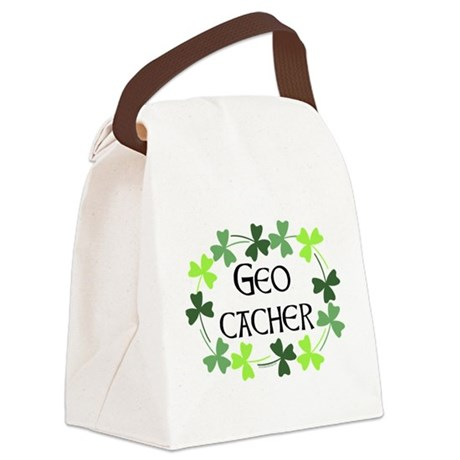 Geocacher Shamrock Oval Canvas Lunch Bag