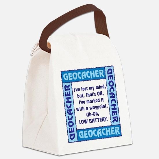 Blue Geocacher Lost Mind Canvas Lunch Bag