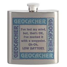 Blue Geocacher Lost Mind Flask