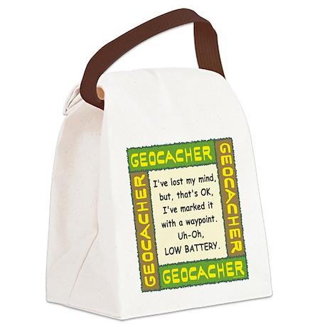 Green Geocacher Lost Mind Canvas Lunch Bag