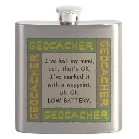 Green Geocacher Lost Mind Flask