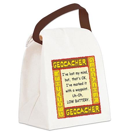 Brown Geocacher Lost Mind Canvas Lunch Bag