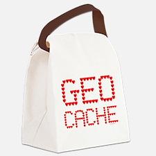Geocache Heart Text Canvas Lunch Bag