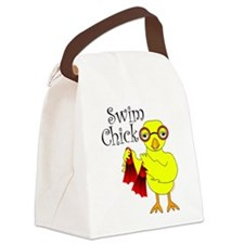 Swim Chick Text Canvas Lunch Bag