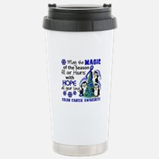 Holiday Penguins Colon Cancer Travel Mug