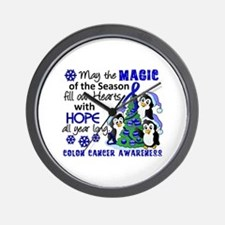 Holiday Penguins Colon Cancer Wall Clock